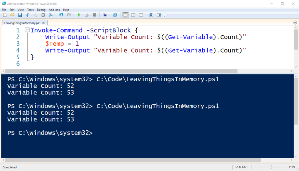 """Fixing"""" Visual Studio Code or PowerShell ISE Cached Variables"""